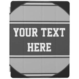 灰色ボタンの円形のストライブ柄 + あなたのアイディア iPadスマートカバー