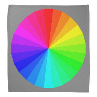 灰色モダンで幾何学的な円の虹パターン バンダナ