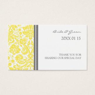 灰色レモンダマスク織の結婚式の引き出物のラベル 名刺