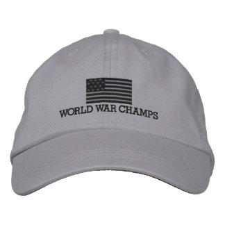 灰色世界大戦のチャンピオン-および黒い米国旗 刺繍入りキャップ