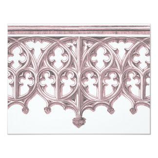 灰色及びピンクのカテドラルの結婚式招待状 カード