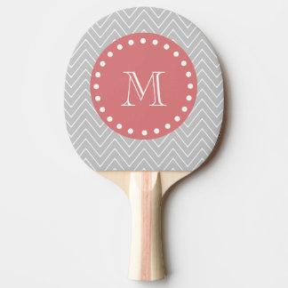 灰色及びモモのモダンなシェブロンのカスタムのモノグラム 卓球ラケット