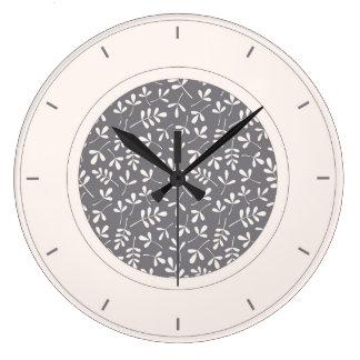灰色及び環境の葉のPtnの分類されたクリーム ラージ壁時計