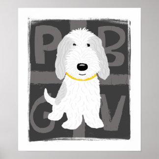 灰色及び白いPBGV ポスター