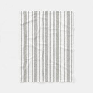 灰色及び白くストライプのな毛布 フリースブランケット