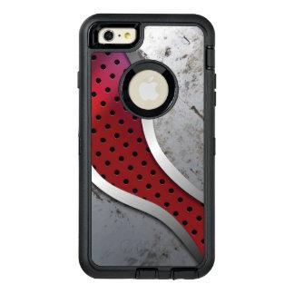 灰色及び赤いの粋で汚い金属質 オッターボックスディフェンダーiPhoneケース