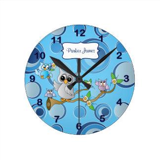 灰色及び青色児のフクロウ|の子供部屋のテーマ ラウンド壁時計