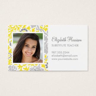 灰色及び黄色のレトロの花のダマスク織のカスタムの写真 名刺