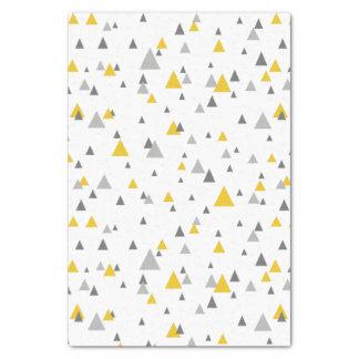灰色及び黄色の任意三角形のモダンパターン 薄葉紙