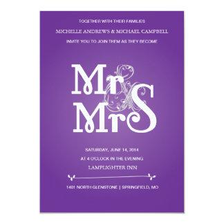 灰色及びPurの花のアンパーサンドの結婚式招待状 カード