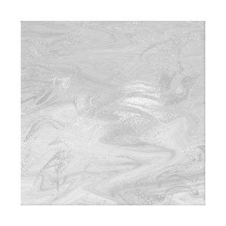 灰色大理石の石の抽象芸術の白黒波 キャンバスプリント