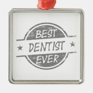灰色最も最高のな歯科医 メタルオーナメント