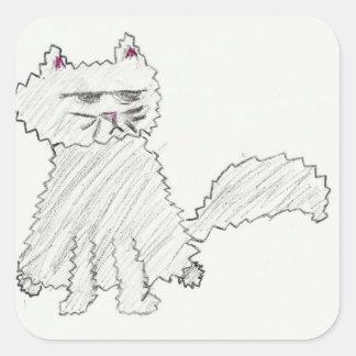 灰色猫のステッカー スクエアシール