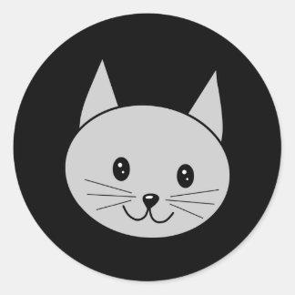 灰色猫の漫画 ラウンドシール