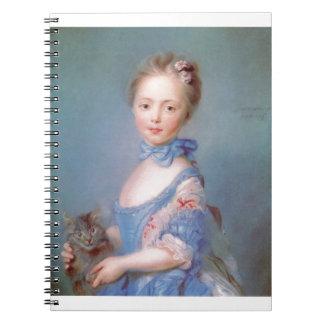 灰色猫を持つ女の子 ノートブック