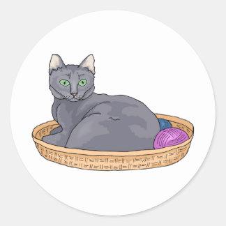 灰色猫2 ラウンドシール