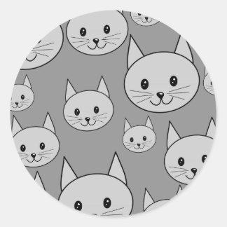 灰色猫 ラウンドシール