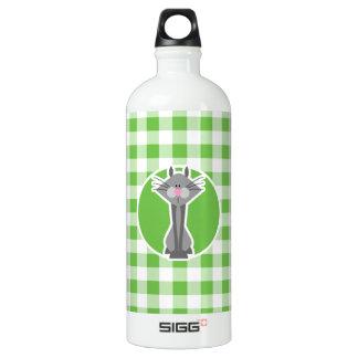 灰色猫; 緑のギンガム ウォーターボトル