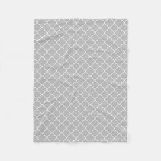 灰色白のクローバーパターン毛布 フリースブランケット