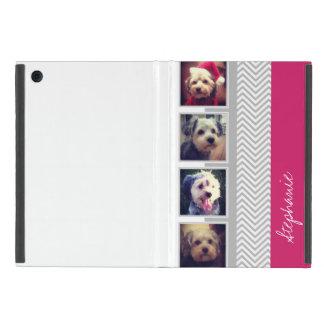 灰色白のシェブロンパターンが付いている写真のコラージュ iPad MINI ケース