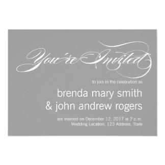 灰色白のシンプルな原稿モダンな結婚のInvitatioa 12.7 X 17.8 インビテーションカード