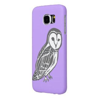 灰色白のメンフクロウの紫色のSamsungの銀河系S6の箱 Samsung Galaxy S6 ケース