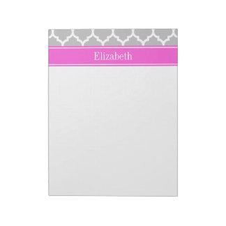 灰色白のモロッコ#5ショッキングピンクの名前のモノグラム ノートパッド