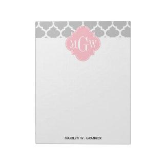 灰色白のモロッコ#5ピンク3の最初のモノグラム ノートパッド
