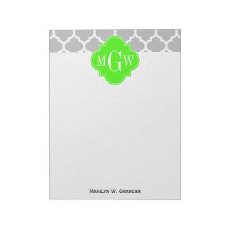 灰色白のモロッコ#5ライムのGrn 3の最初のモノグラム ノートパッド