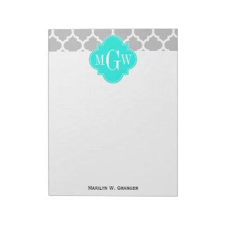 灰色白のモロッコ#5明るい水3の最初のモノグラム ノートパッド