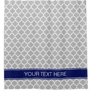 灰色白のモロッコ#5濃紺の名前のモノグラム シャワーカーテン