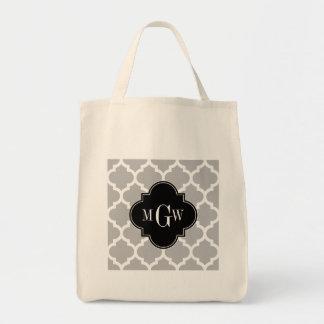 灰色白のモロッコ#5黒3の最初のモノグラム トートバッグ