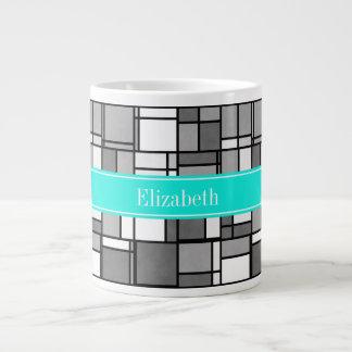 灰色白のモンドリアンの刺激を受けたな水の名前のモノグラム ジャンボコーヒーマグカップ