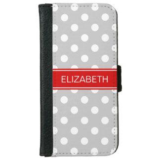 灰色白の水玉模様#2の赤い一流のモノグラム iPhone 6/6S ウォレットケース