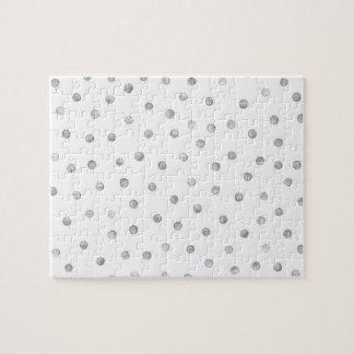 灰色白の紙吹雪のドット・パターン ジグソーパズル