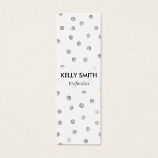 灰色白の紙吹雪のドット・パターン スキニー名刺
