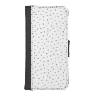 灰色白の紙吹雪のドット・パターン 財布型IPHONE5ケース