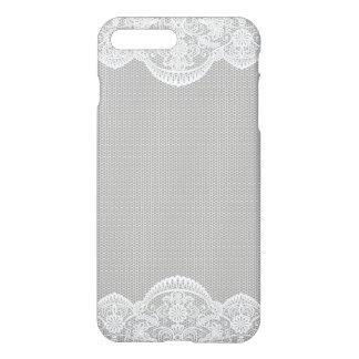 灰色白の花のレースの結婚式 iPhone 8 PLUS/7 PLUSケース