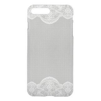 灰色白の花のレースの結婚式 iPhone 8 PLUS/7 PLUS ケース