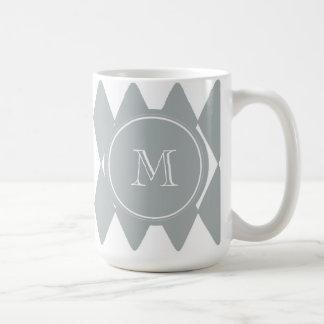 灰色白の道化師パターン、あなたのモノグラム コーヒーマグカップ