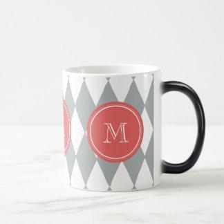灰色白の道化師パターン、珊瑚のモノグラム モーフィングマグカップ