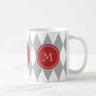 灰色白の道化師パターン、赤いモノグラム コーヒーマグカップ
