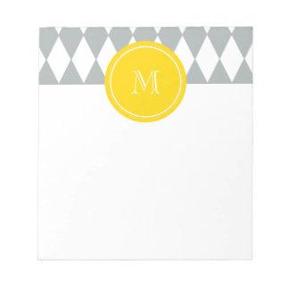 灰色白の道化師パターン、黄色いモノグラム ノートパッド