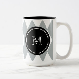 灰色白の道化師パターン、黒いモノグラム ツートーンマグカップ