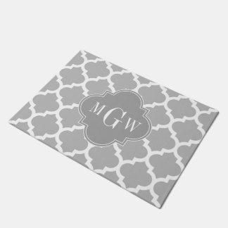 灰色白モロッコ#5 Dkの灰色3の最初のモノグラム ドアマット