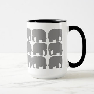 灰色象のシルエットのマグ マグカップ