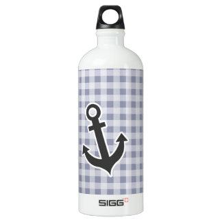 灰色青いギンガム; いかり ウォーターボトル