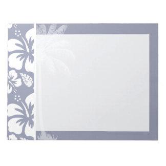 灰色青いハワイの熱帯ハイビスカス; やし ノートパッド