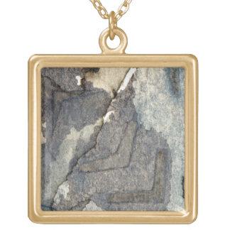 灰色青い背景の水彩画2 ゴールドプレートネックレス