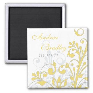 、灰色黄色い、白の抽象的な花の結婚式の磁石 冷蔵庫マグネット
